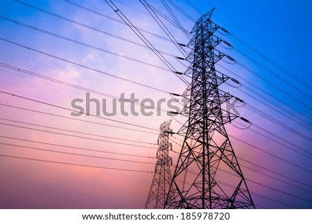 High voltage post and sky in twilight time - stock photo
