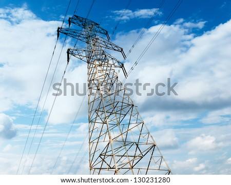 high voltage post.High-voltage tower sky background