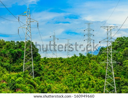 high voltage post in forest