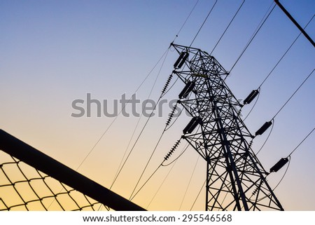 High voltage post or High voltage tower. - stock photo