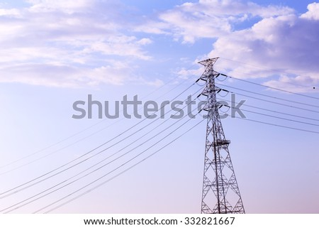High voltage post or High voltage tower on cloudy  sky background