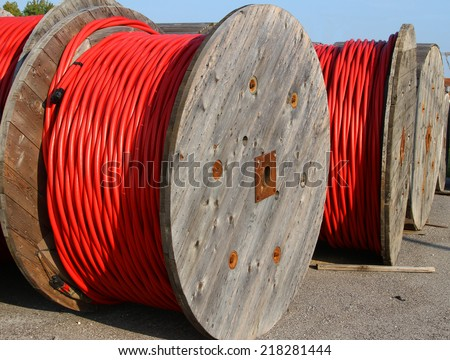 high voltage power cable in the power station - stock photo