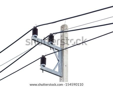 High voltage power lines on white.