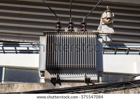High voltage power of electric transformer substation. - stock photo
