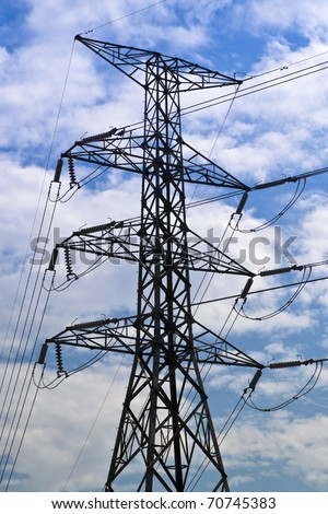 High voltage power pole - stock photo