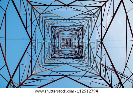 High Voltage Power Pole Texture Background. - stock photo