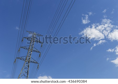 High voltage power pole with space on clear blue sky in summer sunny day in Thailand