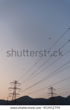 High voltage power tower and cable