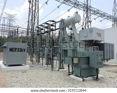 High-voltage power transformer - stock photo