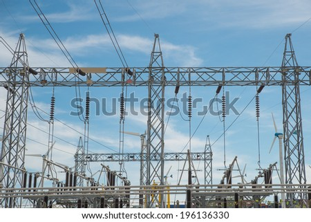 High voltage power transformer in substation with power wind mill