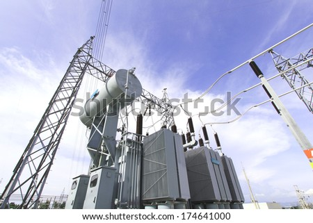 High voltage power transformer substation - stock photo