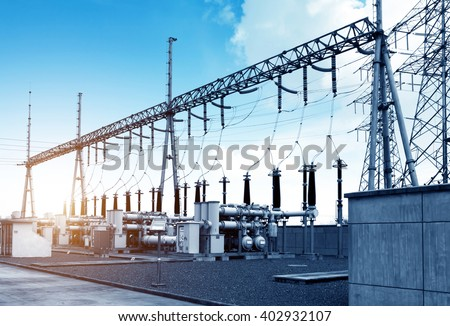 High voltage power transformer substation