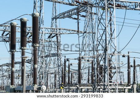 High voltage power transformer substation and electric poles