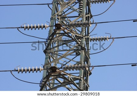 high voltage pylon and electricity lines - stock photo