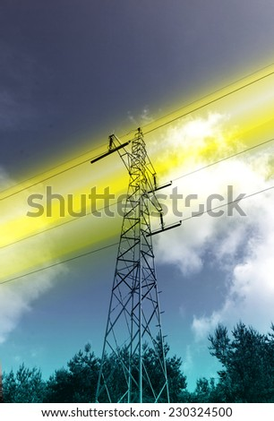 High voltage pylon and power lines energy concept