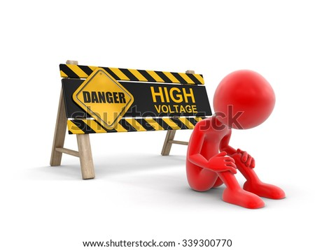High voltage sign and man. Image with clipping path