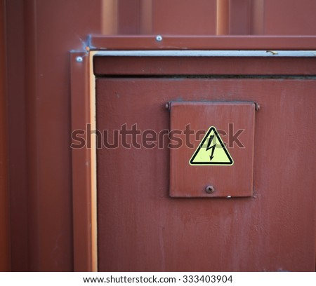 High voltage sign close up - stock photo