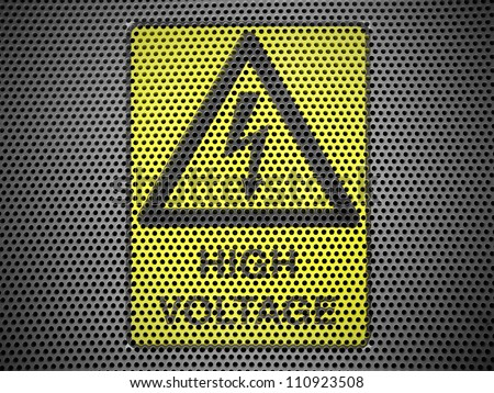 High voltage sign drawn at metall grill - stock photo