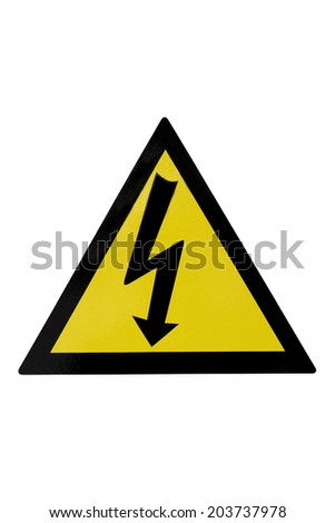 High voltage sign on white background - stock photo