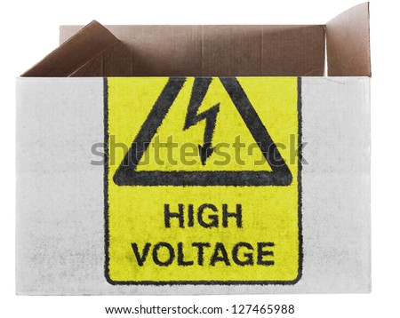 High voltage sign    painted on carton box or package