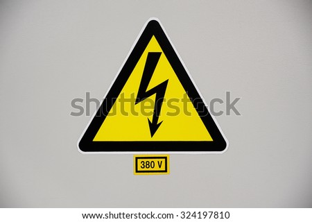High voltage sign 380V - stock photo