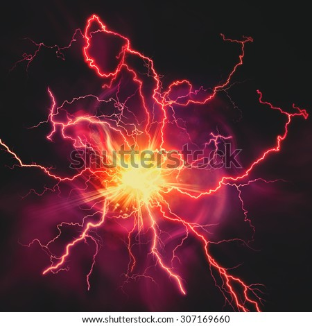 High voltage strike, abstract technology and science backgrounds - stock photo