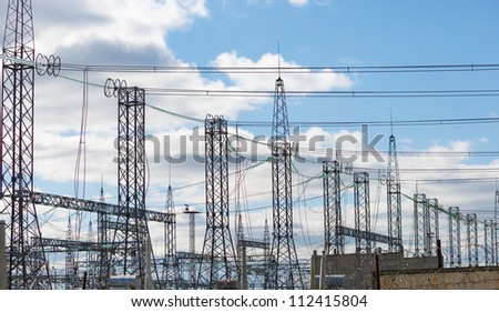 High Voltage Substation  in the sky - stock photo