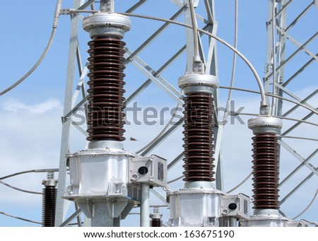 high-voltage substation with disconnectors - stock photo