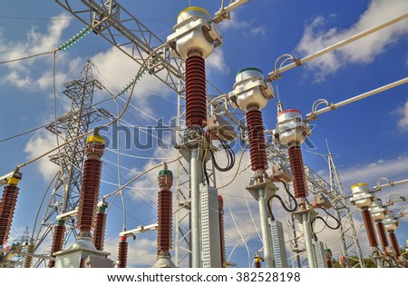 High voltage switch-yard in modern electrical substation - stock photo