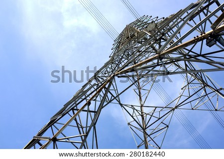 High voltage tower and blue sky