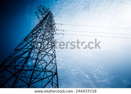 High Voltage Tower, blue toned images.