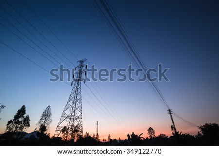 High-voltage tower in twilight time