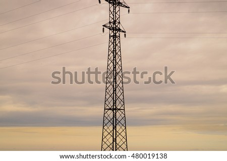 High-voltage tower industrial background