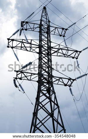 High-voltage tower sky background. High voltage tower.