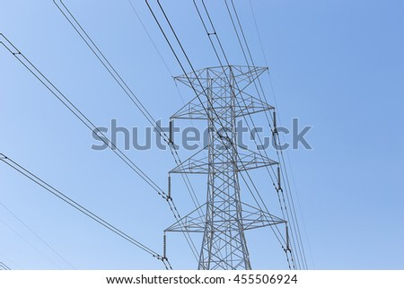high voltage tower with clear sky