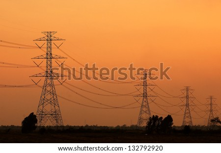 High voltage towers in the countryside from thailand