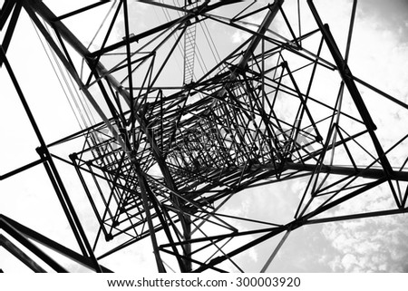 High voltage transmission pylon or tower.