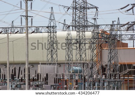 High voltage transmission towers, power plants.