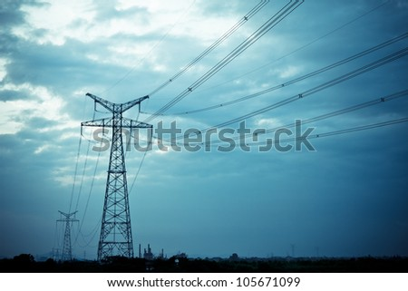 High voltage under the blue sky