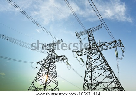 High voltage under the blue sky - stock photo
