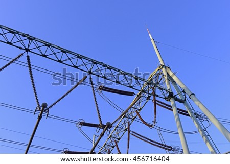 High-voltage wire, close-up pictures