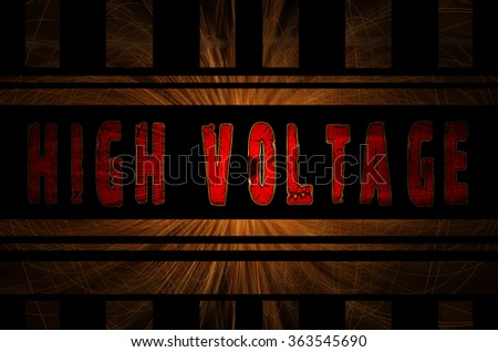 High voltage word on hot sparks from spinning steel wool in the background with Gaussian blur effect, Vector Illustration. - stock photo