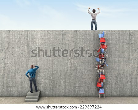 high wall and clever solution 3d image - stock photo