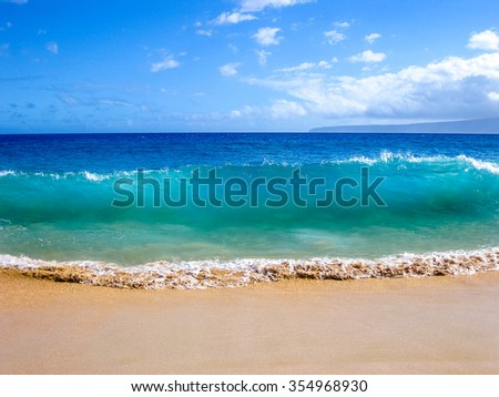High waves of the famous Big Beach in summer, Makena State Park in Maui, Hawaii, USA. . - stock photo