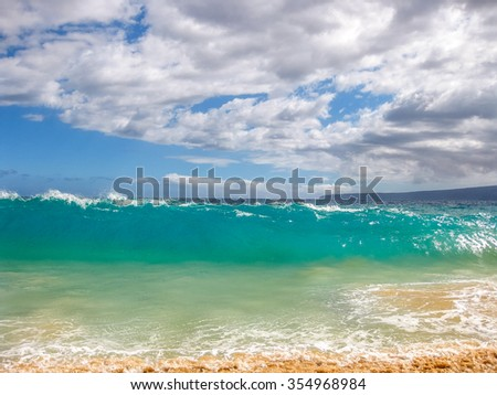 High waves of the famous Big Beach in summer, Makena State Park in Maui, Hawaii, USA. - stock photo