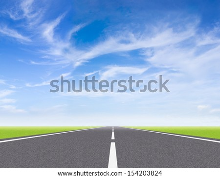 high way on blue sky to Travel Destination