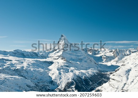 High winter view on snowy Matterhorn, Switzerland