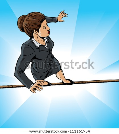 High wire business girl - stock photo