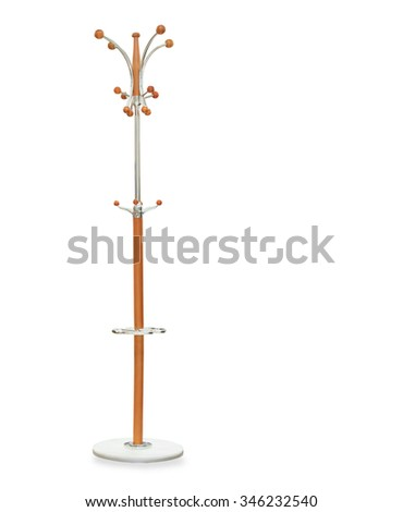 High wooden hanger isolated over white - stock photo