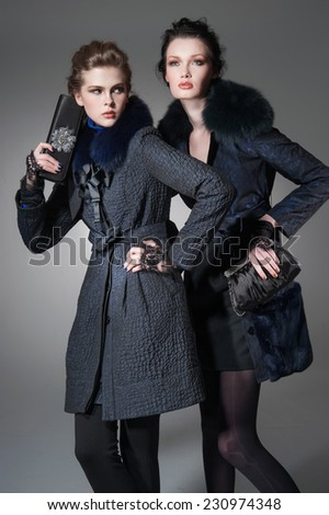 high young attractive two girl wearing fur coat holding purse on gray background  - stock photo